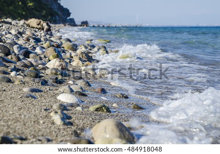 Rocky beach at the sea in Turkey #484918048