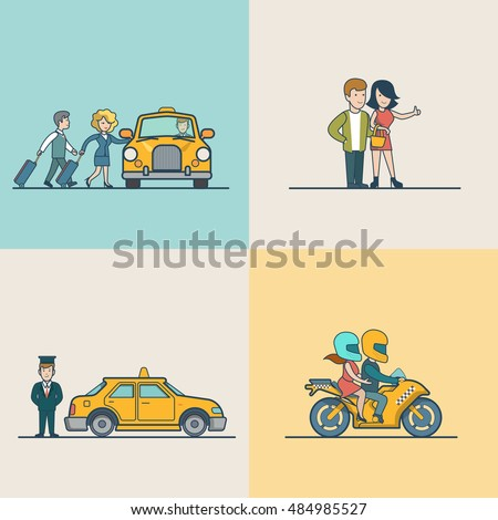 Flat Modern couple catching cab, motorcycle and VIP Taxi service vector illustration set. City Passenger Transportation concept. #484985527