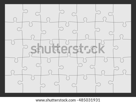 Set of thirty-five puzzle pieces.