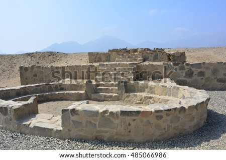 Ancient ruins of the civilization of Caral, in Peru #485066986