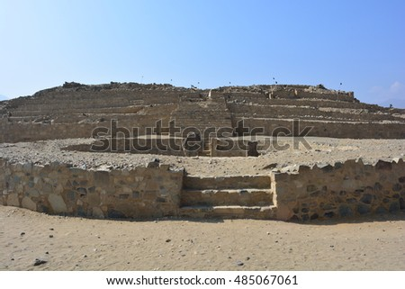 Ancient ruins of the civilization of Caral, in Peru #485067061