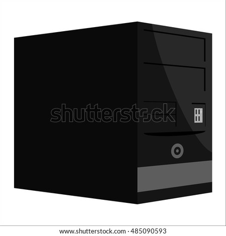 System unit of a computer icon in black monochrome style isolated on white background. Equipment symbol vector illustration #485090593