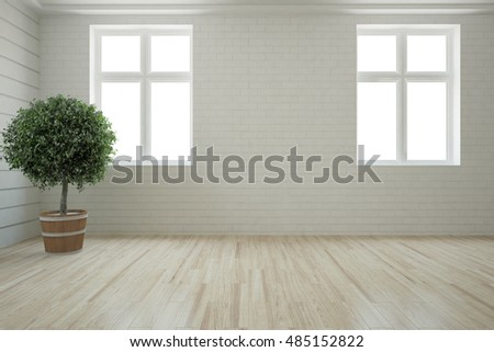 White interior with tree. 3D illustration #485152822