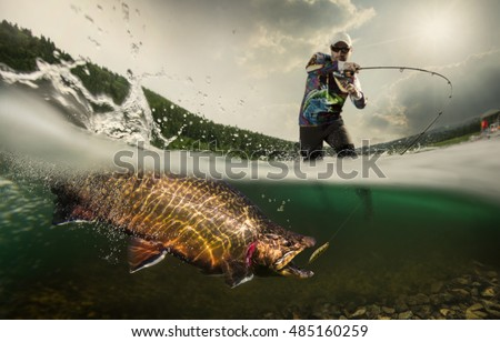 Fishing. Fisherman and trout, underwater view Royalty-Free Stock Photo #485160259