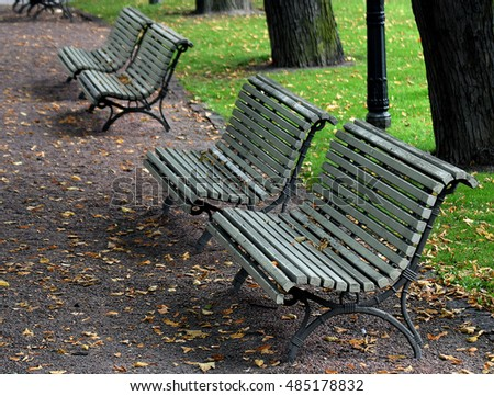 Park benches on autumn. #485178832
