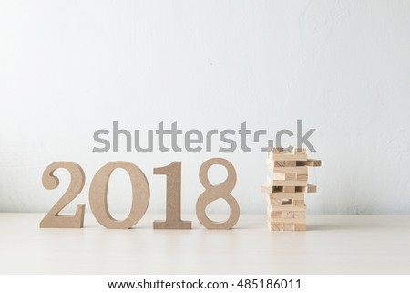 Happy New Year 2018 on a white background #485186011