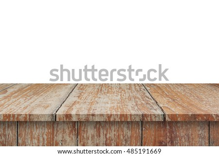 Wood Shelf Table isolated on white background #485191669