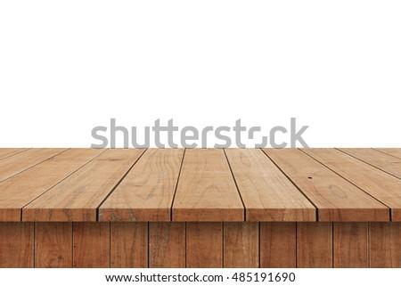 Wood Shelf Table isolated on white background #485191690