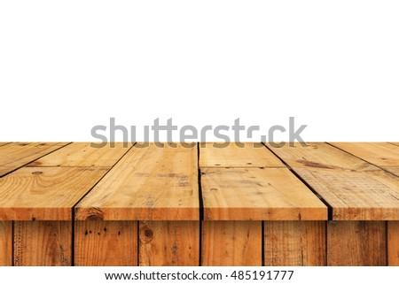 Wood Shelf Table isolated on white background #485191777