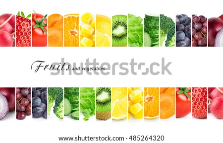 Fresh color fruits and vegetables. Healthy food concept #485264320