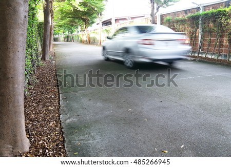 Background nature flower,people,cars,on Sunday afternoon concept in the garden #485266945