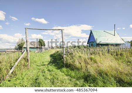 Farm on the lake. Russia, Arkhangelsk Oblast, Primorsky district, Izhmozero #485367094