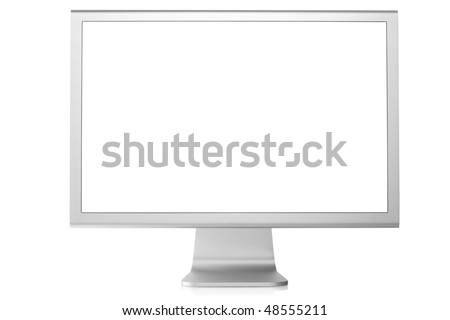 Computer Monitor with blank white screen. Isolated on white background. #48555211