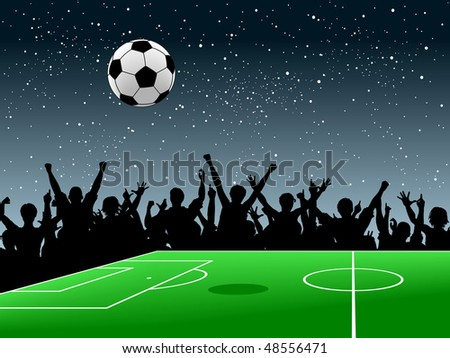 Editable vector design of a crowd around a football pitch at night #48556471