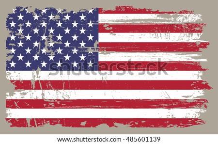 Grunge USA flag.Vintage American flag.Vector.