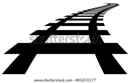 Railway, railroad silhouettes with distortion effect. Train, metro, subway, tram transportation concepts.