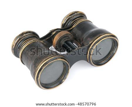 Vintage binoculars isolated on white #48570796