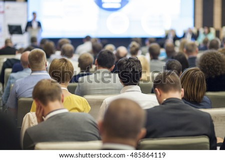 People on the Conference Listening to the Lecturer. Back View. Horizontal Image Composition #485864119