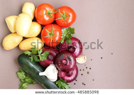 summer background with fresh vegetables on top #485885098