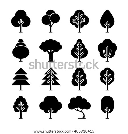 Vector black tree icons set. Monochrome natural plant with leaves illustration #485910415