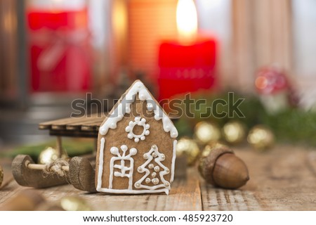 gingerbread house with christmas decoration #485923720