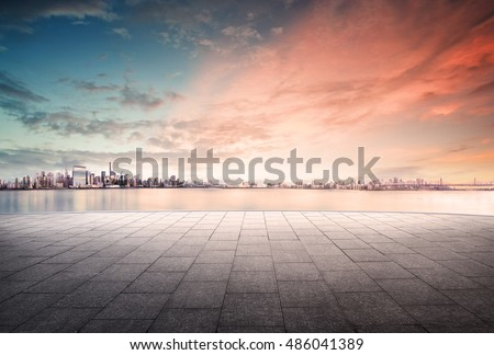 cityscape and skyline of downtown in sunset day on view from empty floor background