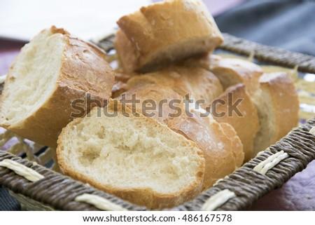 Sliced bread loaf on basket #486167578
