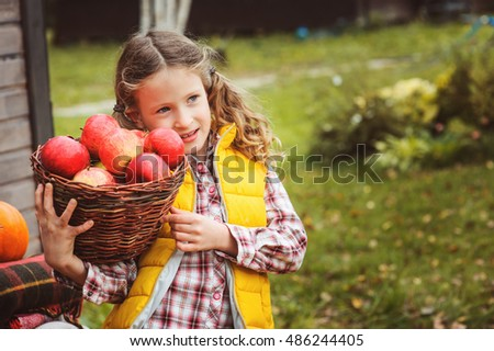 happy child girl picking fresh apples on the farm. Country living concept, growing fruits on farm #486244405