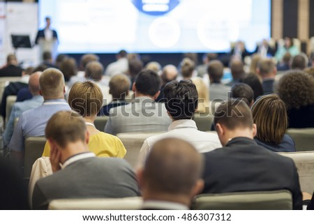 People on the Conference Listening to the Lecturer. Back View. Horizontal Image Composition #486307312