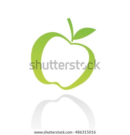 Green line art apple isolated on white