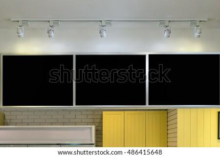 Blank menu board in coffee shop with spot light #486415648