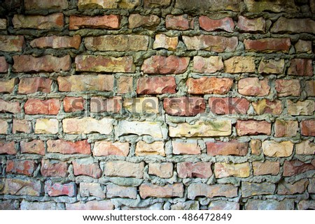 Close up view of the Grunge brick wall texture #486472849