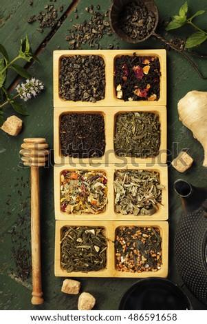 Assortment of dry tea. Tea composition with different kind of tea. Tea concept. #486591658