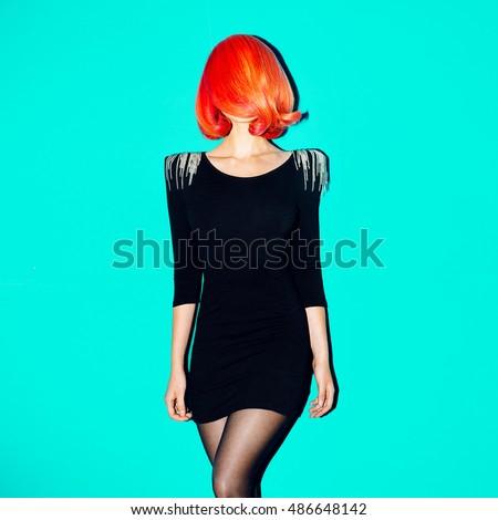 Elegant Model. Minimal. Geometry. Style Hair. Red Hair Color trend.
