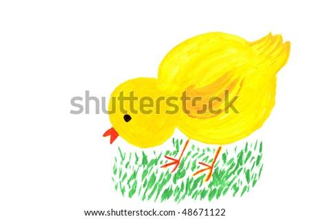 Drawn chicken on a green lawn