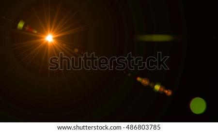 Digital Lens Flare In Black Background #486803785
