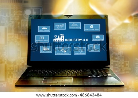 Industrial 4.0 Cyber Physical Systems concept. Big data,cloud computing,cps,smart logistic,augmented reality,smart building,automatic robotics,smart grids icons and laptop with abstract background #486843484