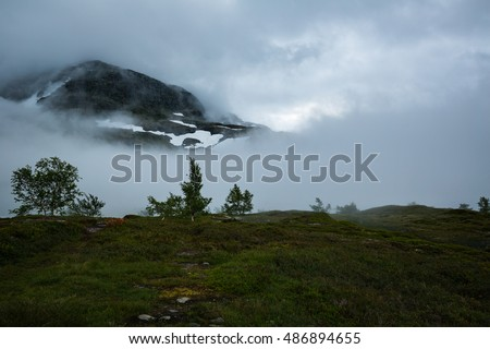 The landscapes of the Norwegian mountains on track to Trolltunga #486894655