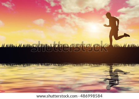 silhouette of jogger in sunset #486998584