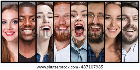 The collage of young man and woman smiling face expressions #487107985