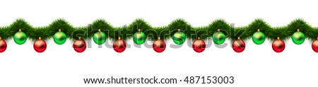 Vintage 3D abstract vector christmas decoration isolated on white background. Red and green xmas holiday ornaments and green tinsel isolated on white. Winter holiday repeating border, seamless pattern Royalty-Free Stock Photo #487153003