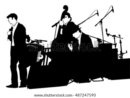 Concert of jazz music on white background #487247590