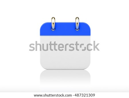 3d illustration of an calendar icon isolated on white background. #487321309