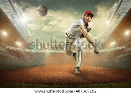 Baseball players in action on the stadium. #487369102
