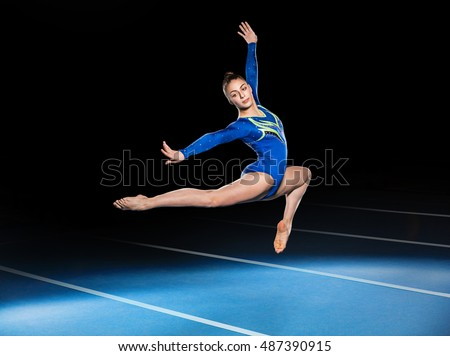 portrait of young gymnasts competing in the stadium, retouched