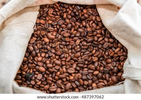 White bag full of beans roasted coffee #487397062