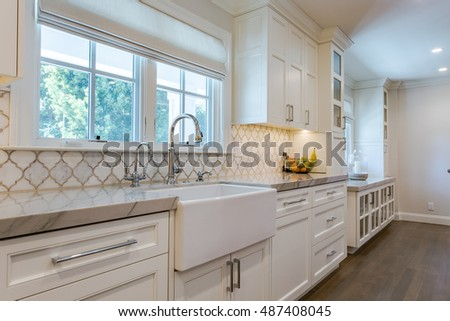 Custom Kitchen Cabinets, Custom Tile, White and Clean  #487408045