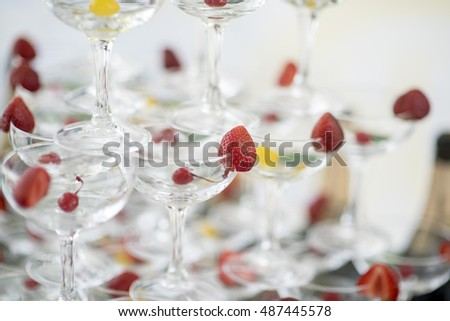 Pyramid from wine glasses #487445578