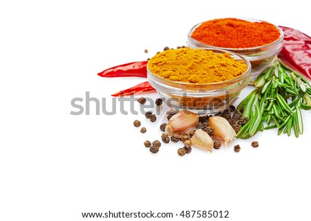 Rich colorful spicy Italian cuisine & healthy lifestyle concept: Natural spices & herbs. Set of red, orange, yellow Mediterranean & turkish original spices & herbs. Closeup Isolated on white #487585012