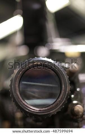 old cinema camera lense close up